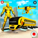 Flying School Bus Robot Hero Robot Games APK MOD Unlimited Money 12 for android