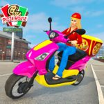 Moto Bike Pizza Delivery Girl Food Game APK MOD Unlimited Money for android